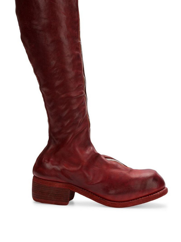 Guidi zip front boots in red