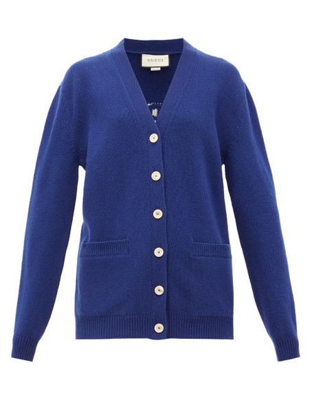 Gucci - Slogan Wool Cardigan - Womens - Blue