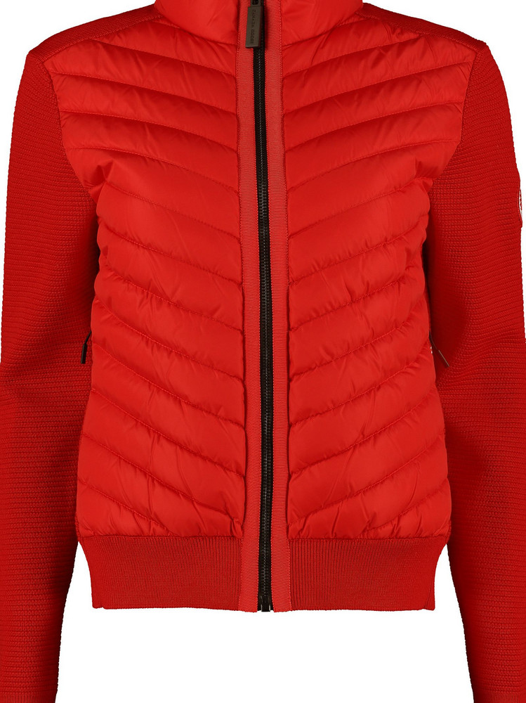 Canada Goose Hybridge Knitted Jacket With Padded Panel in red