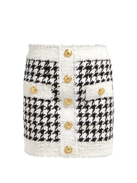 Balmain - Houndstooth Tweed Mini Skirt - Womens - Black White