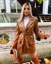 dress,blazer dress,leather,white turtleneck top,over the knee boots