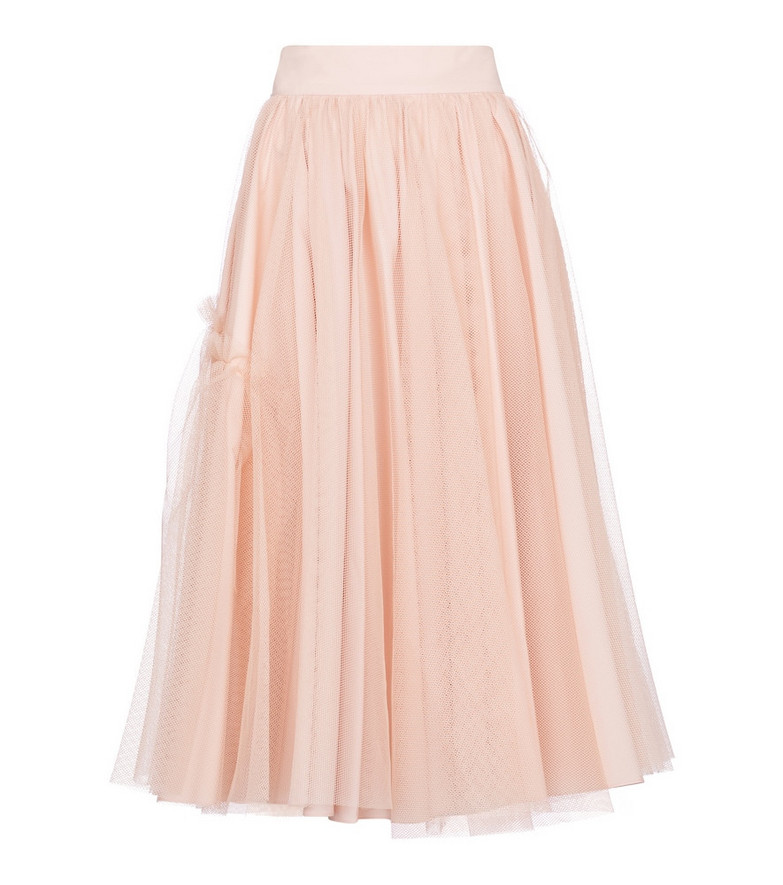 Alexander McQueen High-rise tulle midi skirt in pink