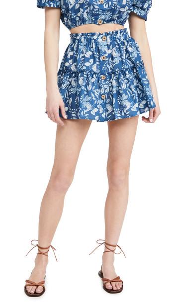 Eberjey Tropical Leaves Nellie Skirt in indigo / white