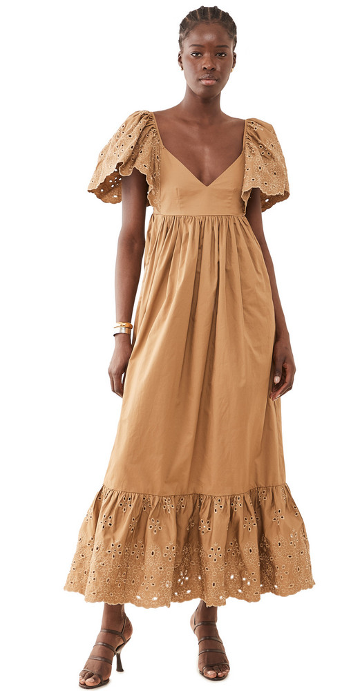 En Saison Flutter Sleeve Eyelet Dress in natural