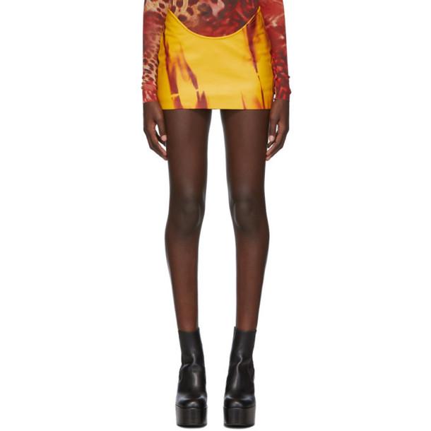 Mowalola SSENSE Exclusive Yellow Leather Kumbi Miniskirt
