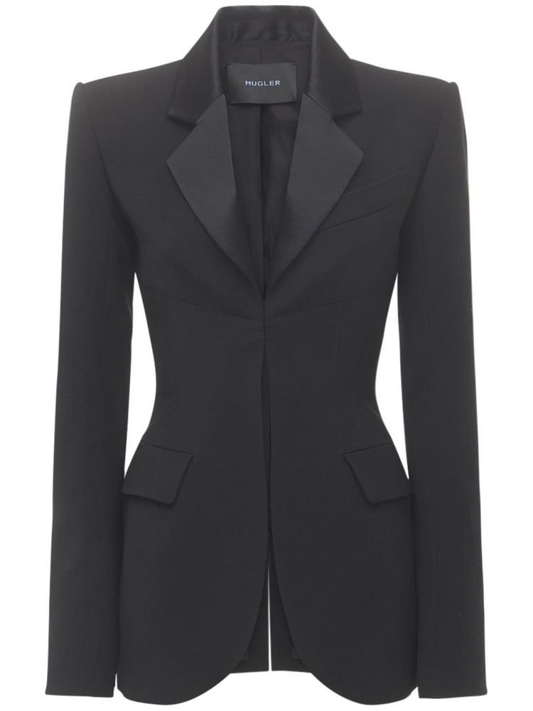 MUGLER Slim Fit Wool Blazer in black