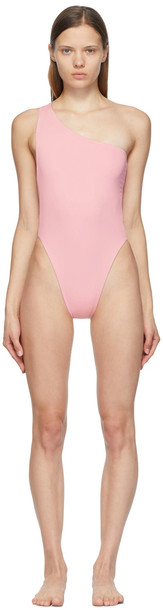 Louisa Ballou SSENSE Exclusive Pink Plunge One-Piece Swimsuit