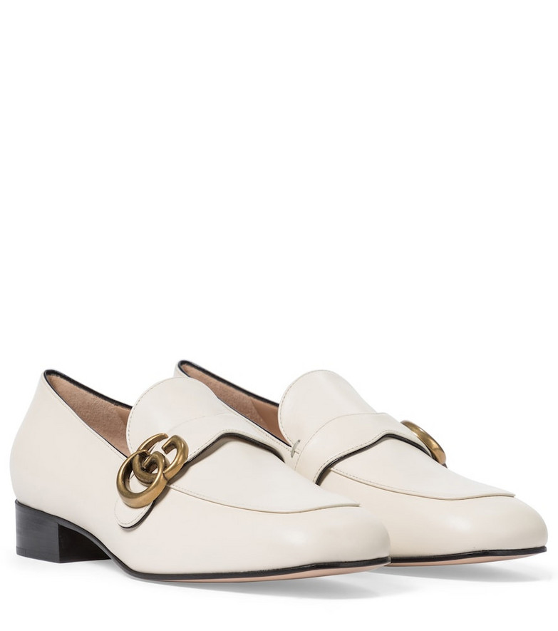 Gucci Double G leather loafers in white