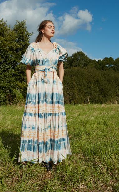 Anna Mason Bardot Maxi Tie Dye Dress Size: 8 in multi