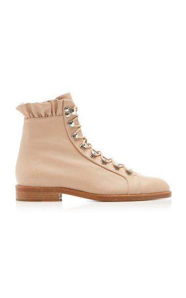 Brock Collection Leather Ruffled Combat Boots in neutral