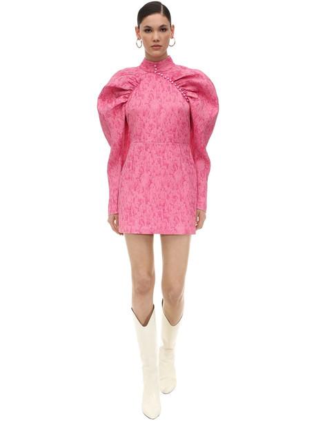 ROTATE Puffed Sleeves Jacquard Mini Dress in pink