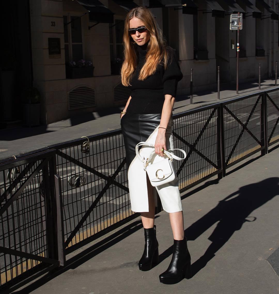 bag white bag chloe bag black boots ankle boots platform boots midi skirt black and white leather skirt slit skirt black sweater turtleneck sweater