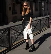 bag,white bag,chloe bag,black boots,ankle boots,platform boots,midi skirt,black and white,leather skirt,slit skirt,black sweater,turtleneck sweater