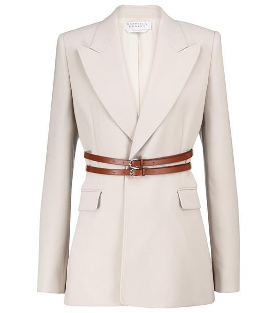 Gabriela Hearst Daniel belted wool crêpe blazer in white