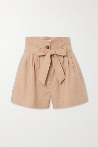 FRAME - Belted Pleated Linen-blend Shorts - Beige