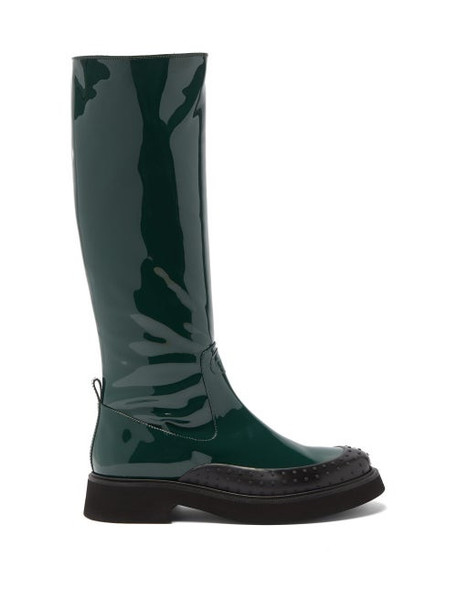 Tod's - Gommini Knee-high Leather Boots - Womens - Dark Green