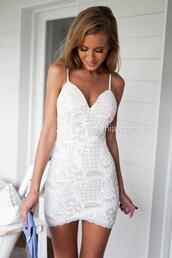 dress,white,mini dress,lace,cocktail dress,bodycon,delicate lace