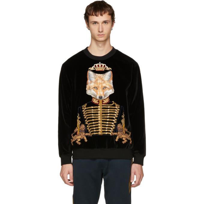 Dolce and Gabbana Dolce & Gabbana Black Velvet Royal Fox Sweatshirt