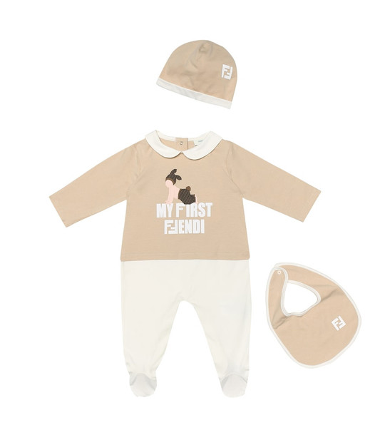 Fendi Kids Cotton onesie, hat and bib set in beige