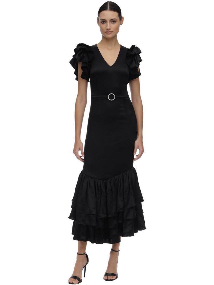 DE LA VALI Long Ruffled Viscose Dress W/ Belt in black