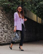 jacket,blazer,double breasted,skinny jeans,black jeans,cropped jeans,transparent  bag,pumps,white blouse