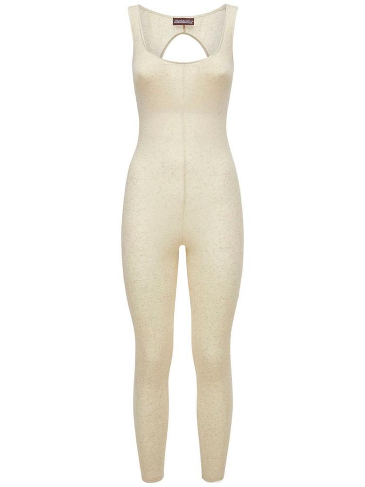 FANTABODY Stretch Mélange Linen Jumpsuit in beige