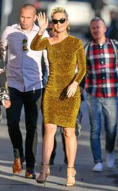 dress,glitter,glitter dress,metallic,gold,gold dress,katy perry,celebrity,one shoulder