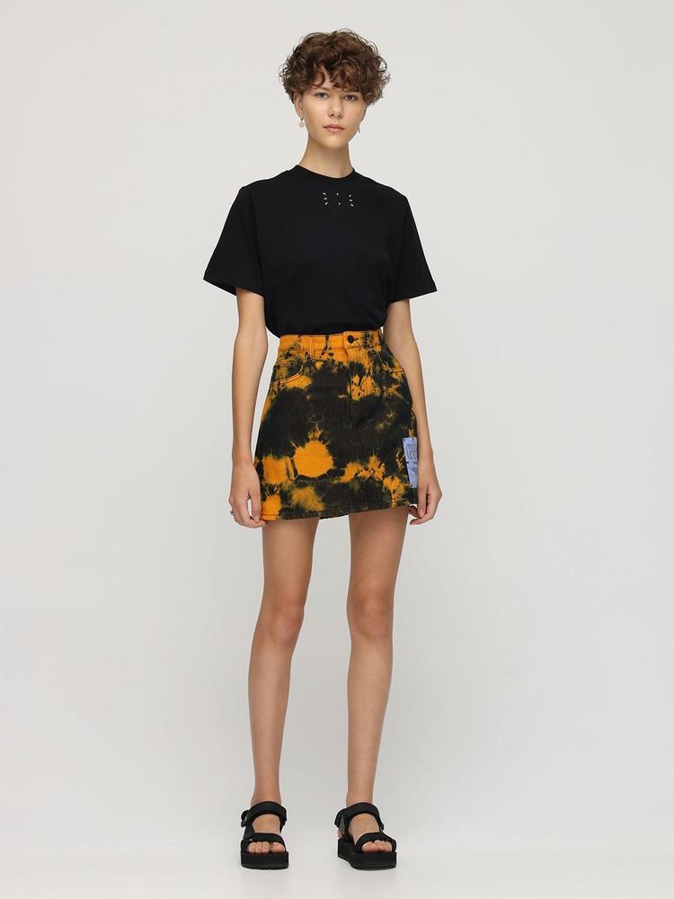 MCQ Genesis Ii Tie Dyed Cotton Mini Skirt in black / orange