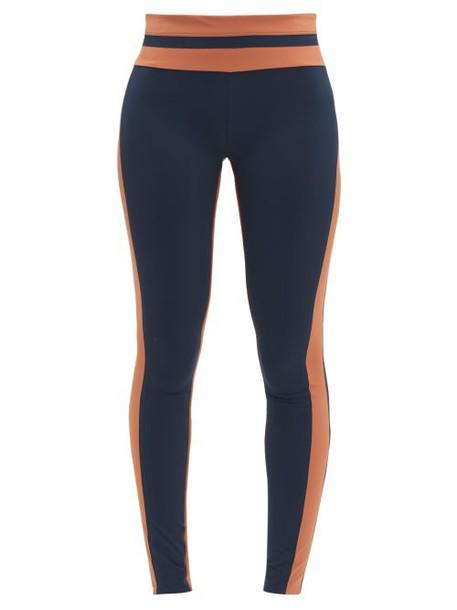 Vaara - Flo Tuxedo Striped Leggings - Womens - Navy Multi