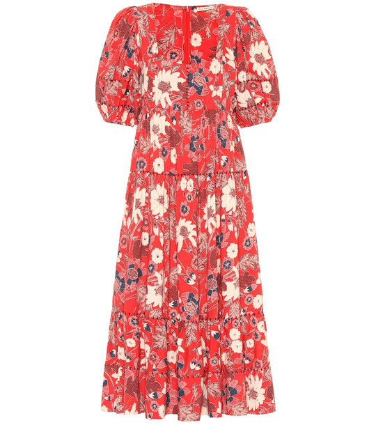 Ulla Johnson Nora floral patchwork midi dress in red