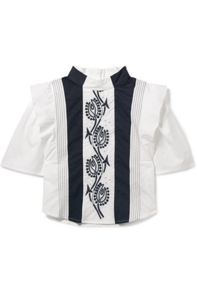 Chloé Kids - Ages 2 - 5 Embroidered Cotton Blouse in blue