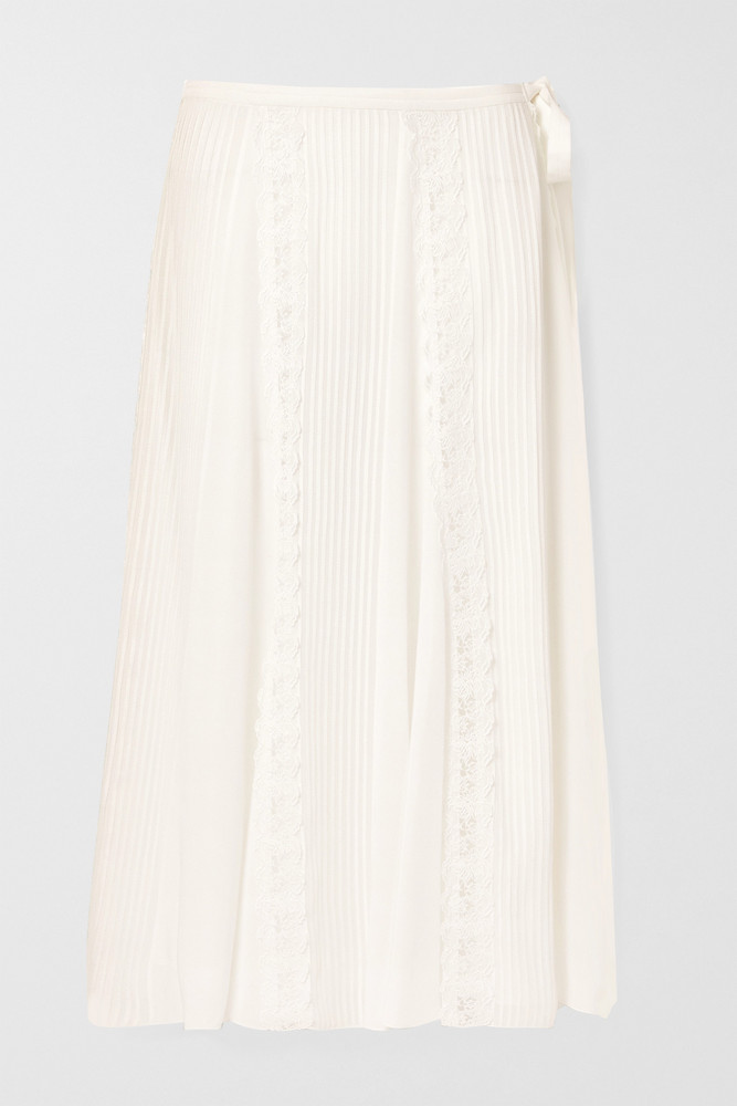 CHLOÉ CHLOÉ - Lace-trimmed Pintucked Silk-georgette Midi Skirt - Off-white