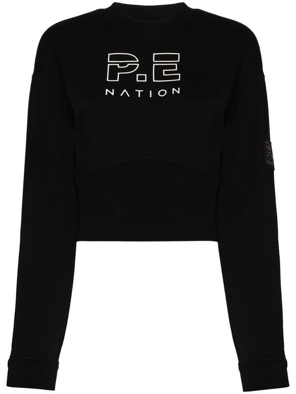 P.E Nation logo-embroidered sweatshirt in black