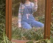 sweater,striped sweater,turtleneck,teal,jumpsuit,denim overalls