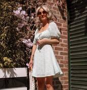 dress,mint dress,mini dress,round sunglasses,sunglasses