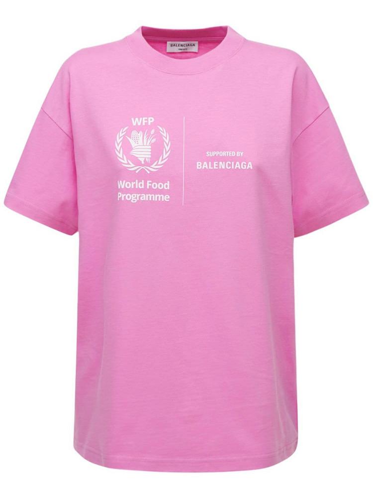 BALENCIAGA Wfp Logo Cotton T-shirt in pink / white
