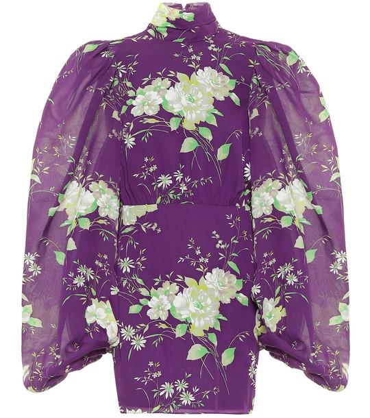 The Attico Floral silk turtleneck minidress in purple