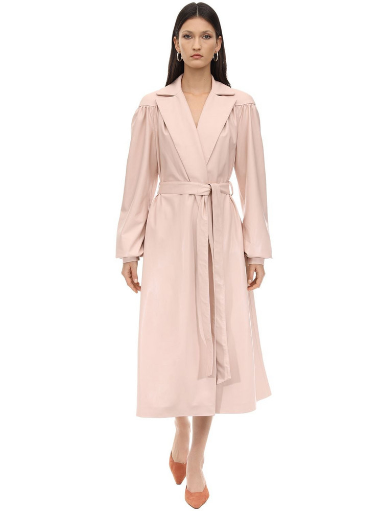 LESYANEBO Ruffled Faux Leather Trench Coat W/ Belt in blush