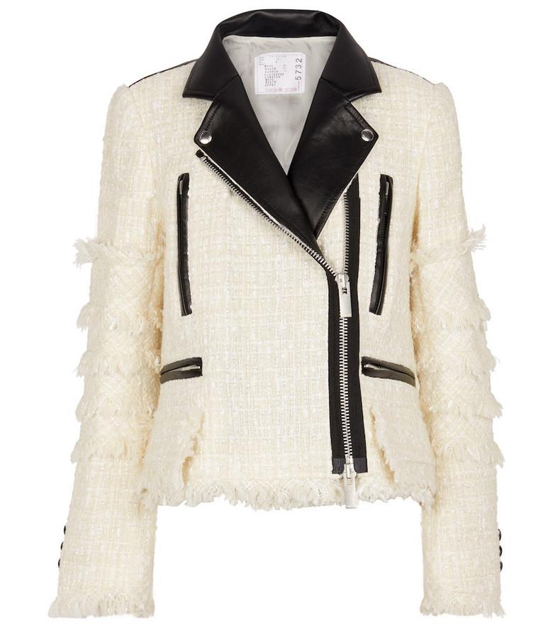 sacai Wool-blend tweed and nylon jacket in black