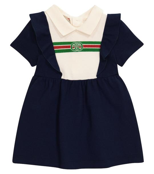 Gucci Kids Baby cotton piqué polo dress in blue