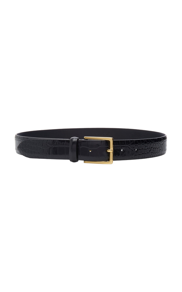 Anderson's Croc-Effect Leather Belt in black