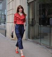 sea of shoes,blogger,pants,sweater,scarf,top,shoes,red top,red shoes,spring outfits