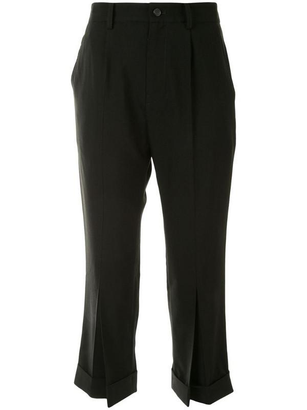 Yohji Yamamoto cropped tailored trousers in black