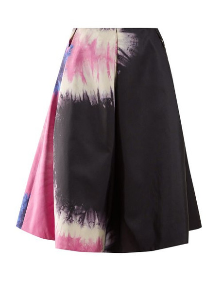 Prada - Tie Dye Print Silk Skirt - Womens - Black Multi