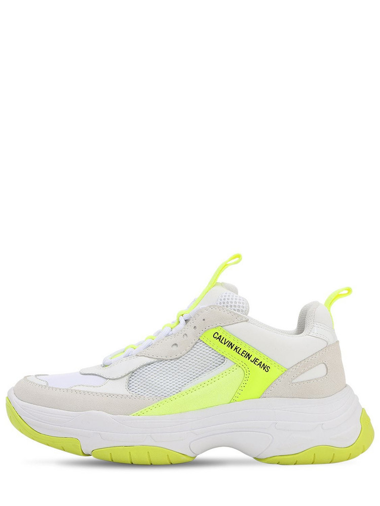 CALVIN KLEIN JEANS 40mm Maya Mesh & Suede Sneakers in white / yellow