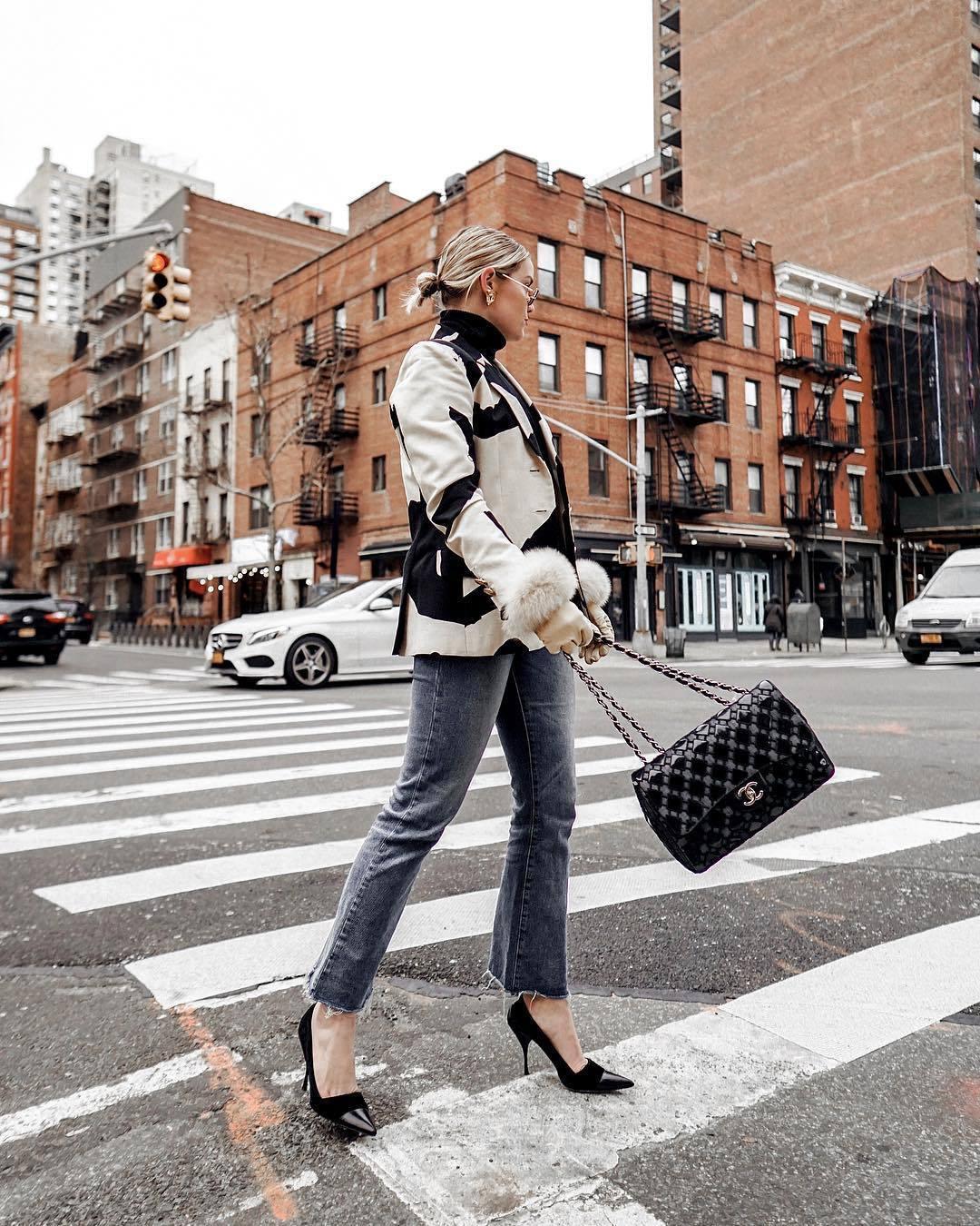 bag chanel bag black bag patent bag pumps cropped jeans grey jeans straight jeans moschino jacket black turtleneck top