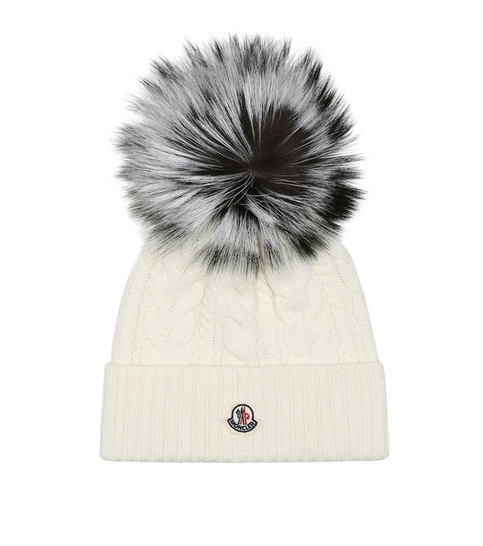 Moncler Fur-trimmed wool-blend beanie in white