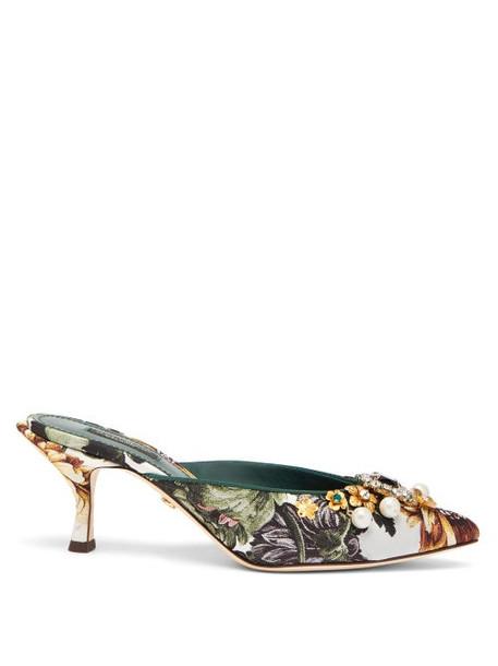 Dolce & Gabbana - Crystal-embellished Floral-jacquard Mules - Womens - Multi