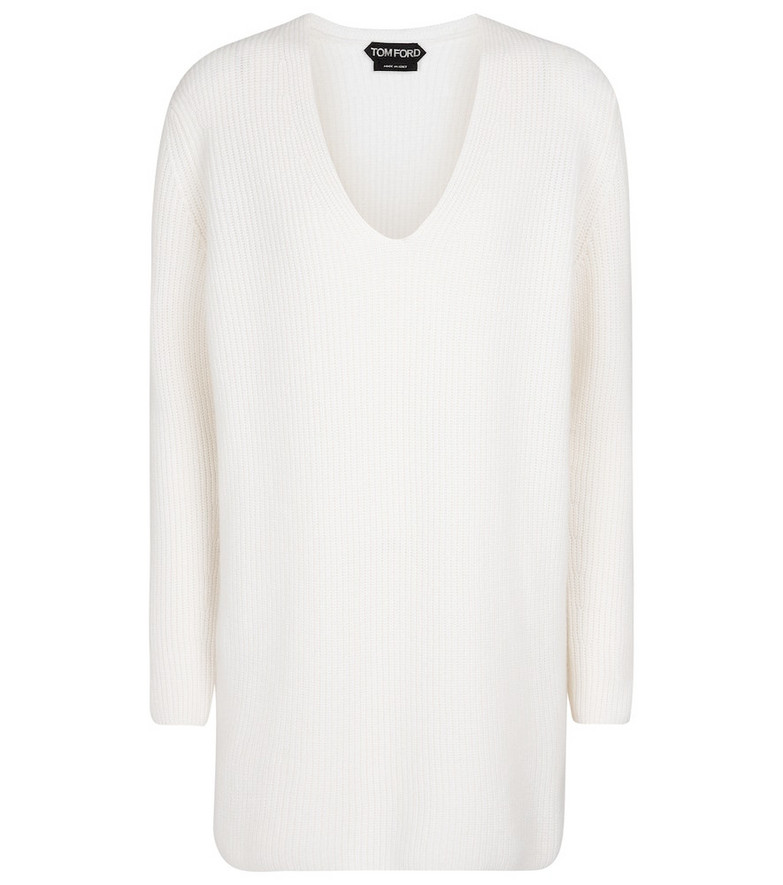 Tom Ford Ribbed-knit cashmere sweater in white