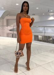 dress,orange,tight,bodycon,neon,off the shoulder